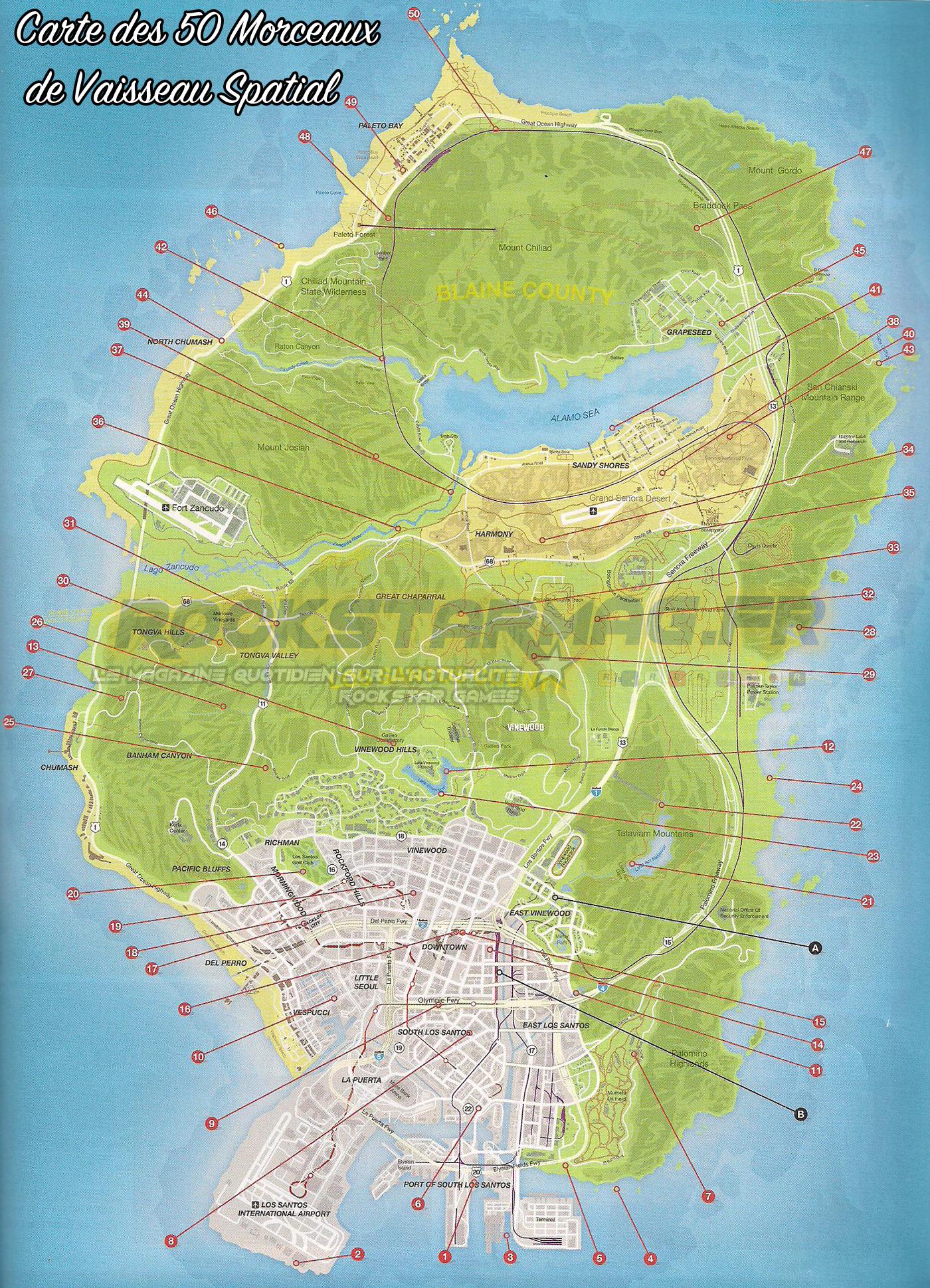 carte 50 morceaux vaisseau