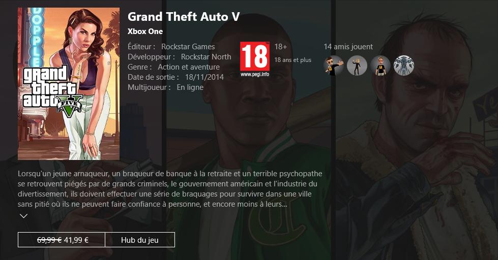 GTA V Xbox Live - Soldes Éditeur Rockstar