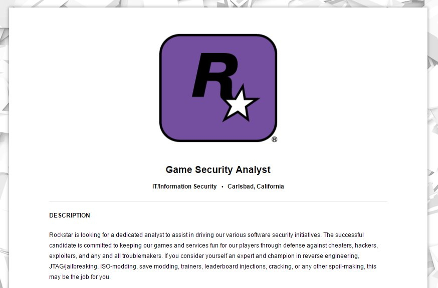 Rockstar San Diego Red Dead Redemption 2 Offre d'Emplois Mods