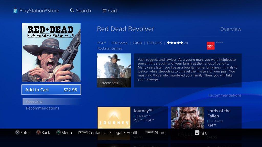 Red Dead Revolver PS4 Australie