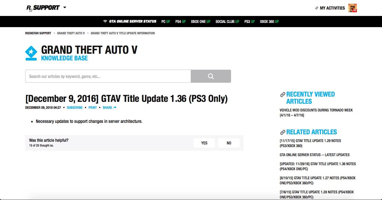 Mise à Jour Serveurs PS3 Grand Theft Auto V