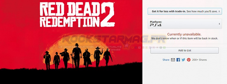 Rupture Stock PS4 Amazon.Com Red Dead Redemption 2