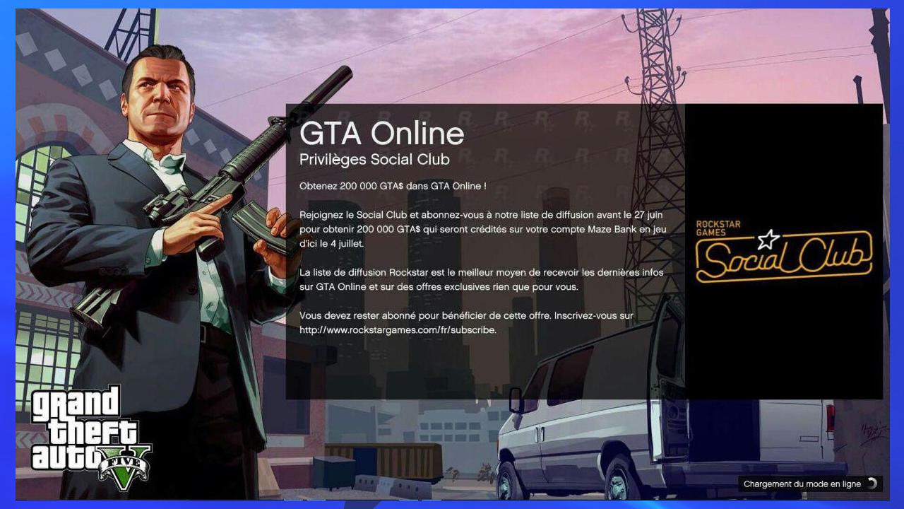 GTA Online Prime de 200000 GTA$ via la Newsletter