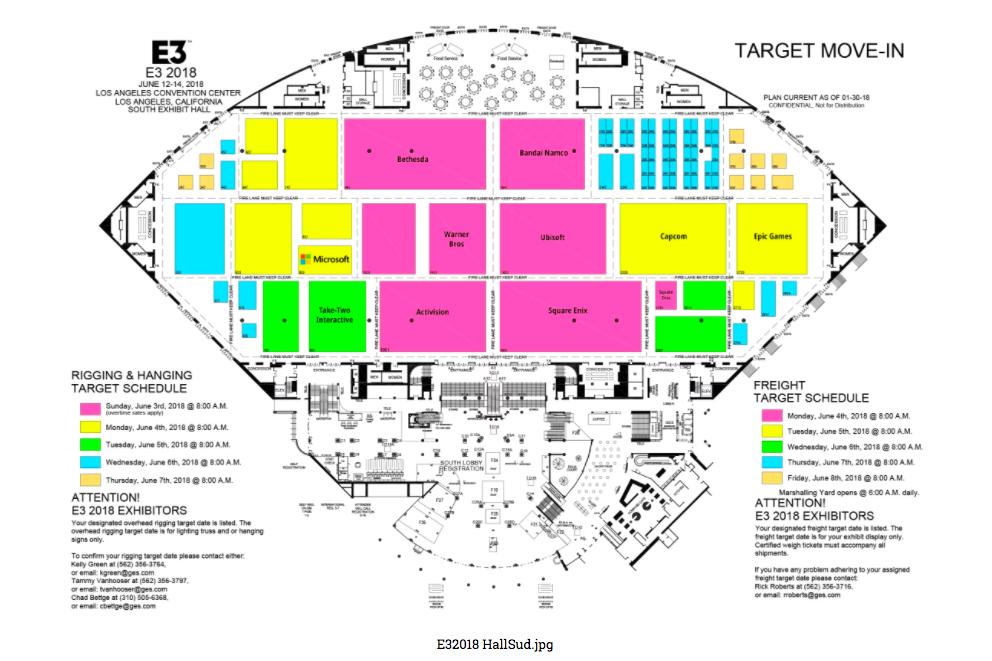 Convention Center Los Angeles - E3 2018 - Plan Hall Sud