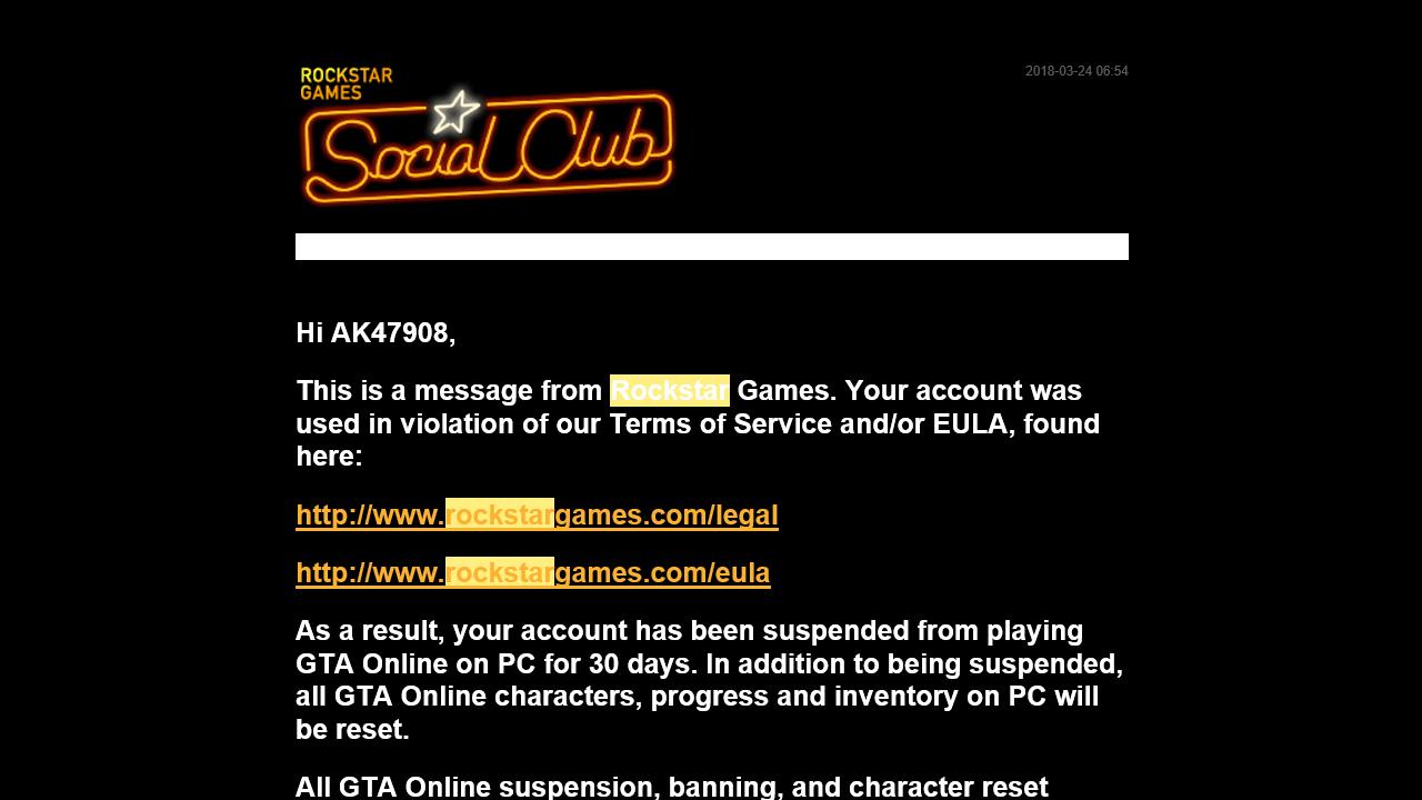 Mail AK47908 GTA Online Ban
