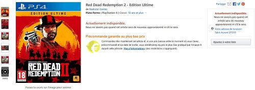 Red Dead Redemption sur Amazon