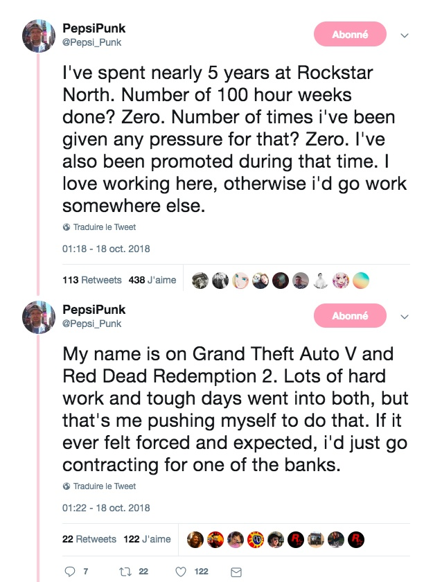 Tweet PepsiPunk Rockstar Games Employé