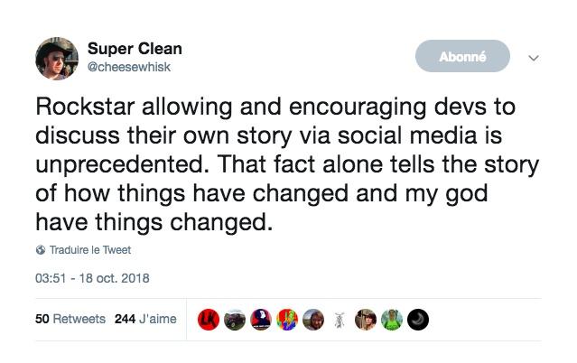 Tweet Super Clean Rockstar Games Employé