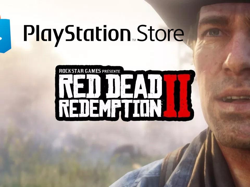 Image issue de la preview d'IGN montrant Arthur Morgan, le logo de Red Dead Redemption II et le logo PlayStation Store