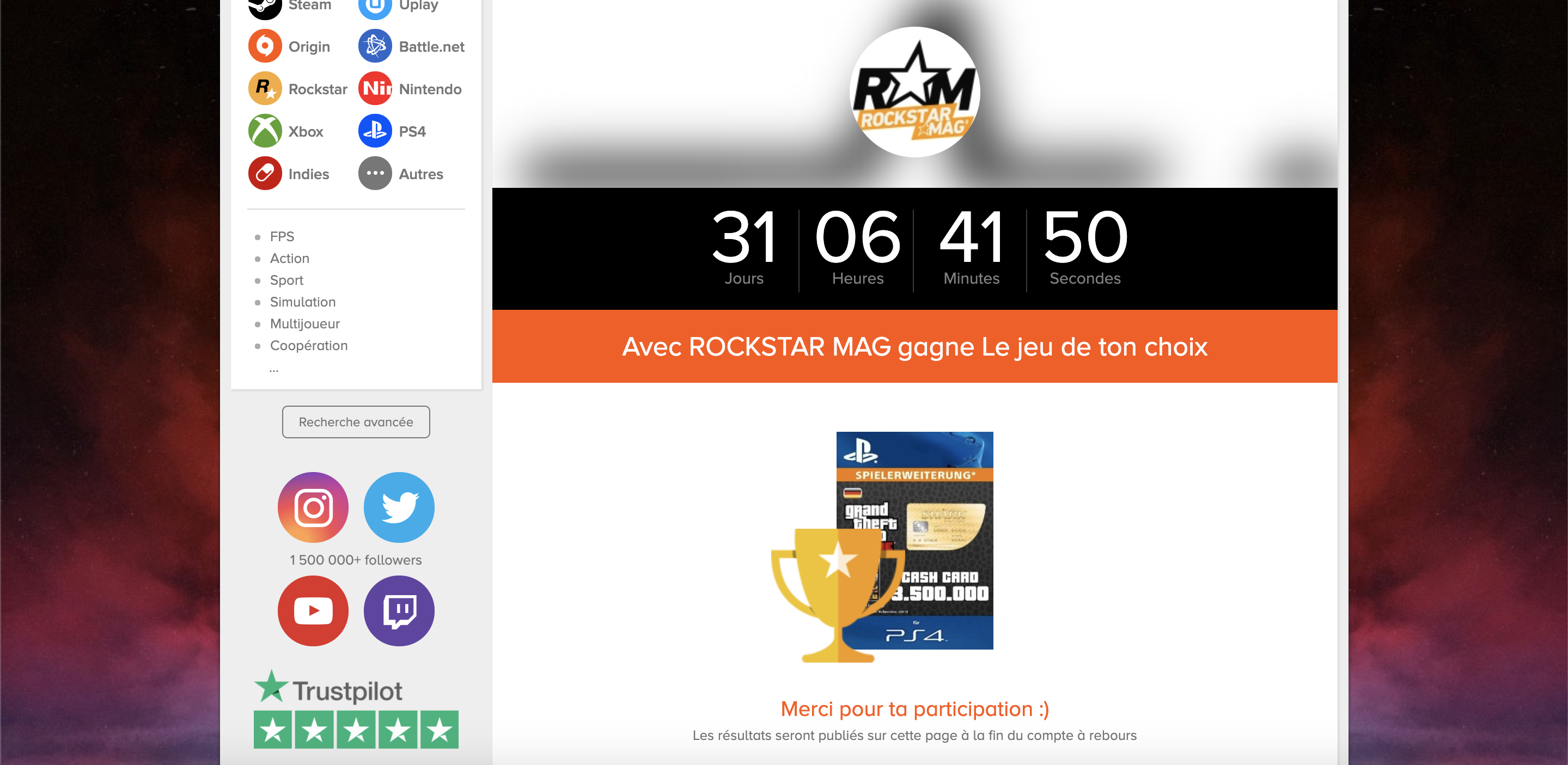 Concours Rockstar Mag Instant Gaming