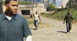 Franklin Clinton, Carl Johnson et Lamar Davis dans un clip réalisé à l'aide de GTA V