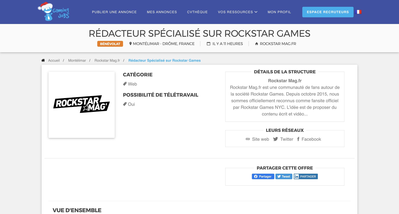 Offre Rédacteur Rockstar Mag