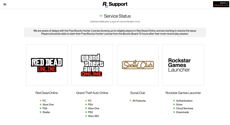 Bugs Serveurs PC GTA Online et Red Dead Online