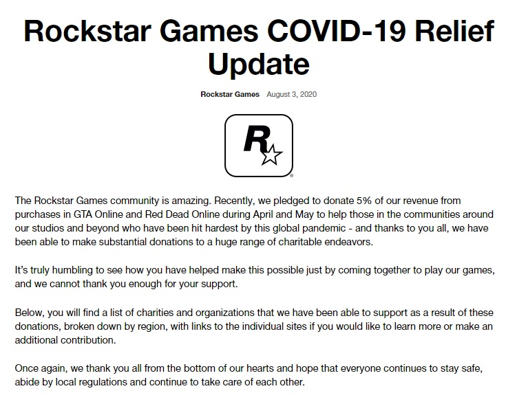 Rockstar Covid Relief Update