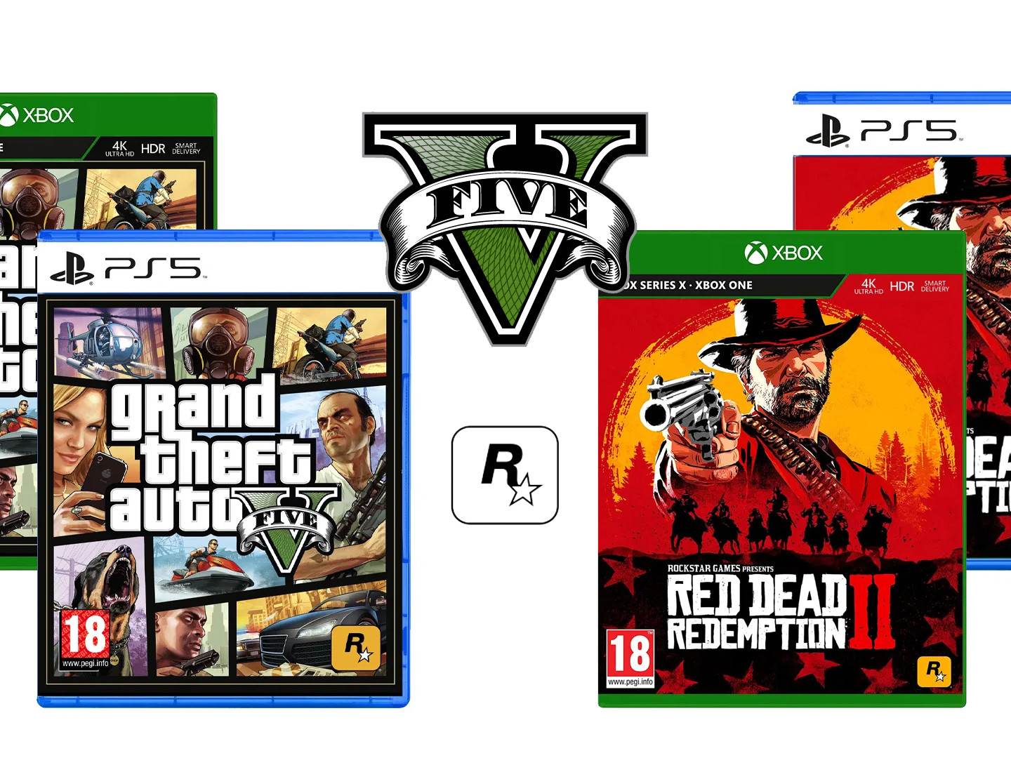 Jeux PS5 Xbox Series X GTA V Red Dead Redemption II