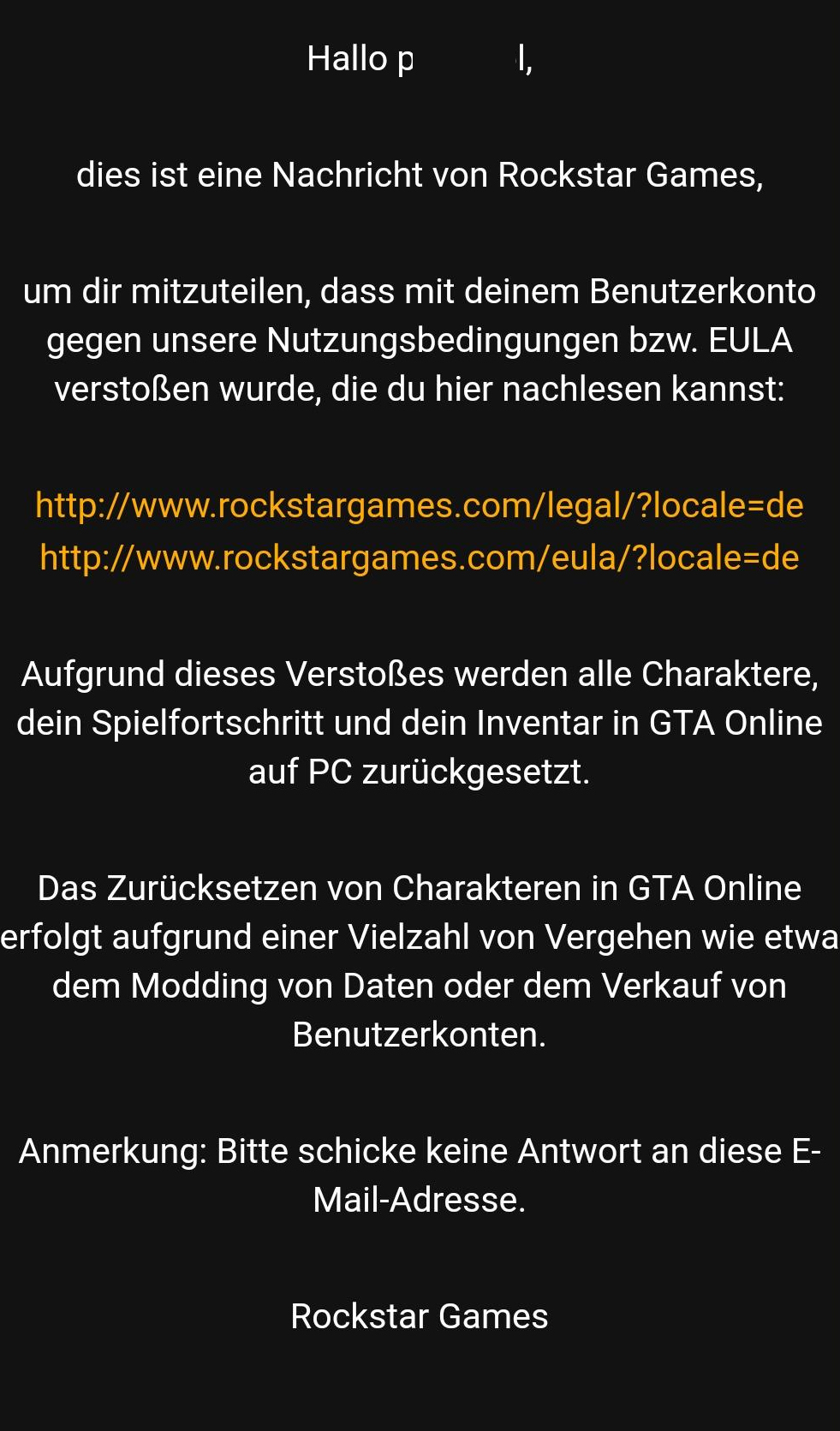 Message Rockstar Suppression Compte GTA Online