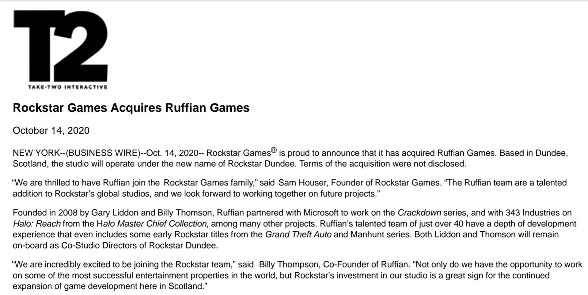 Confirmation Rachat Ruffian Games Rockstar Dundee