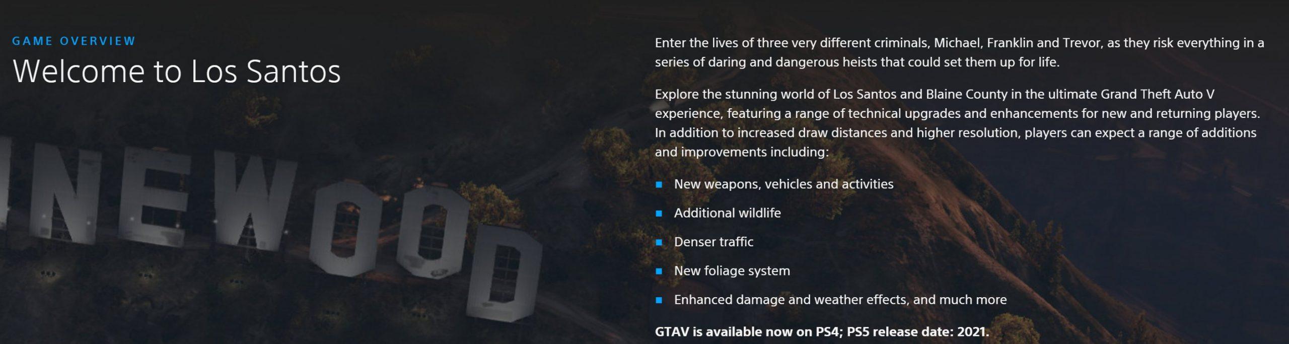 Nouveaux Détails GTA V PS5 et Xbox Series X