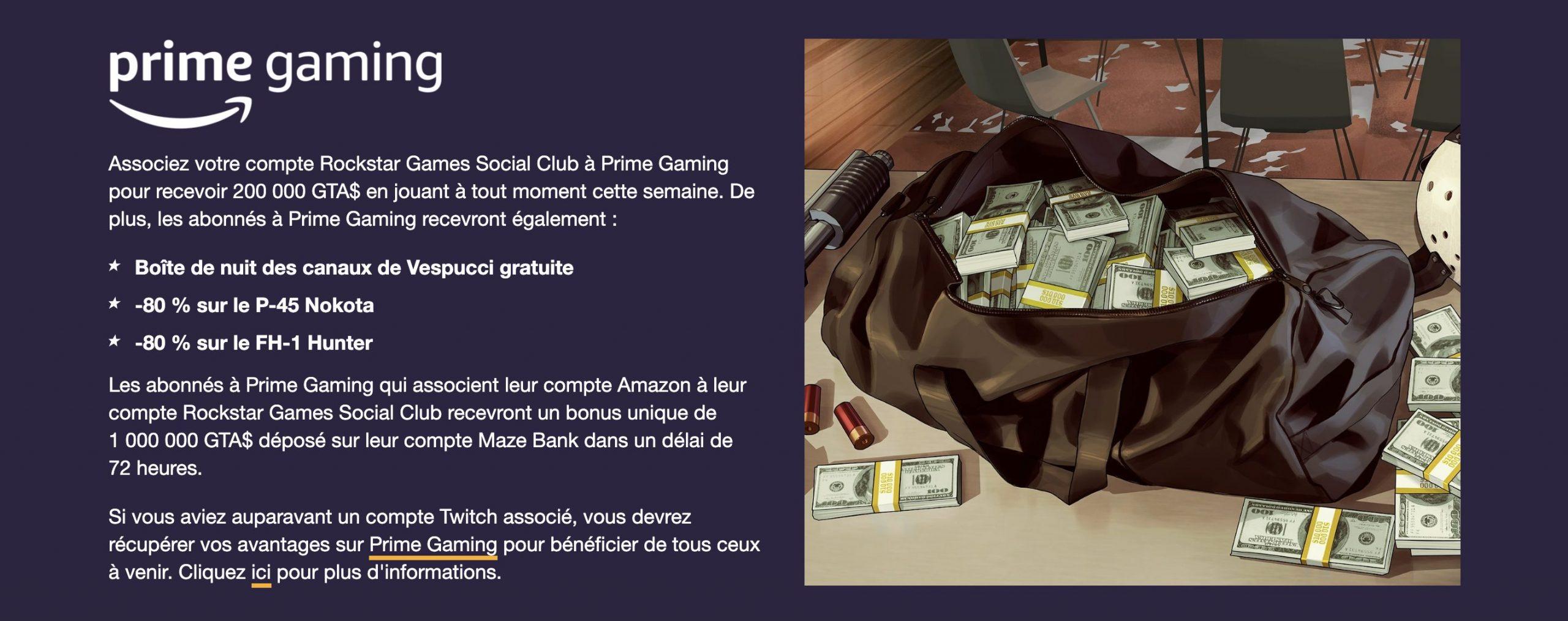 Prime Gaming GTA Online Semaine 15 Octobre 2020