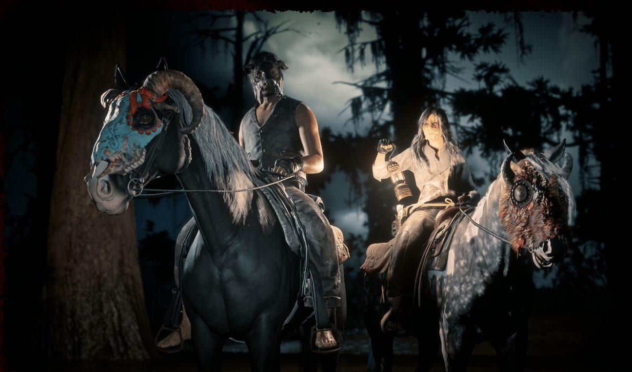Red Dead Online Bison Écorché et les masques colorés pour chevaux