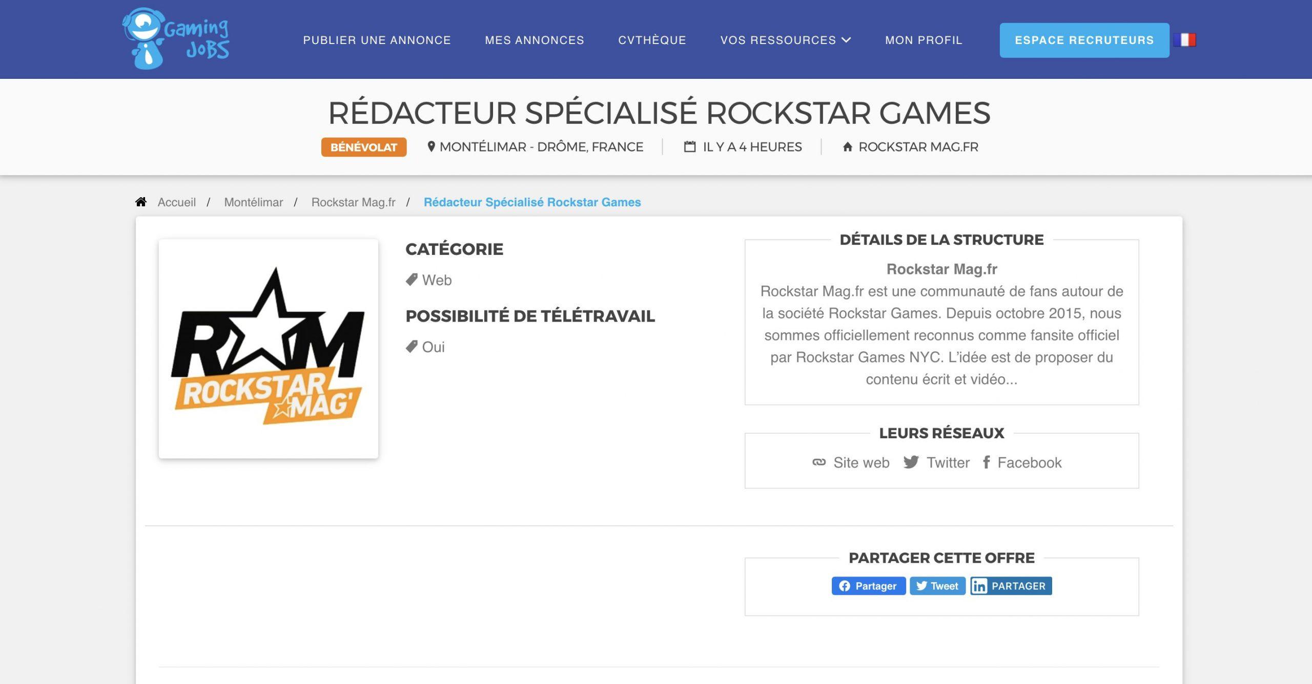 Offre Rédacteur Rockstar Mag'