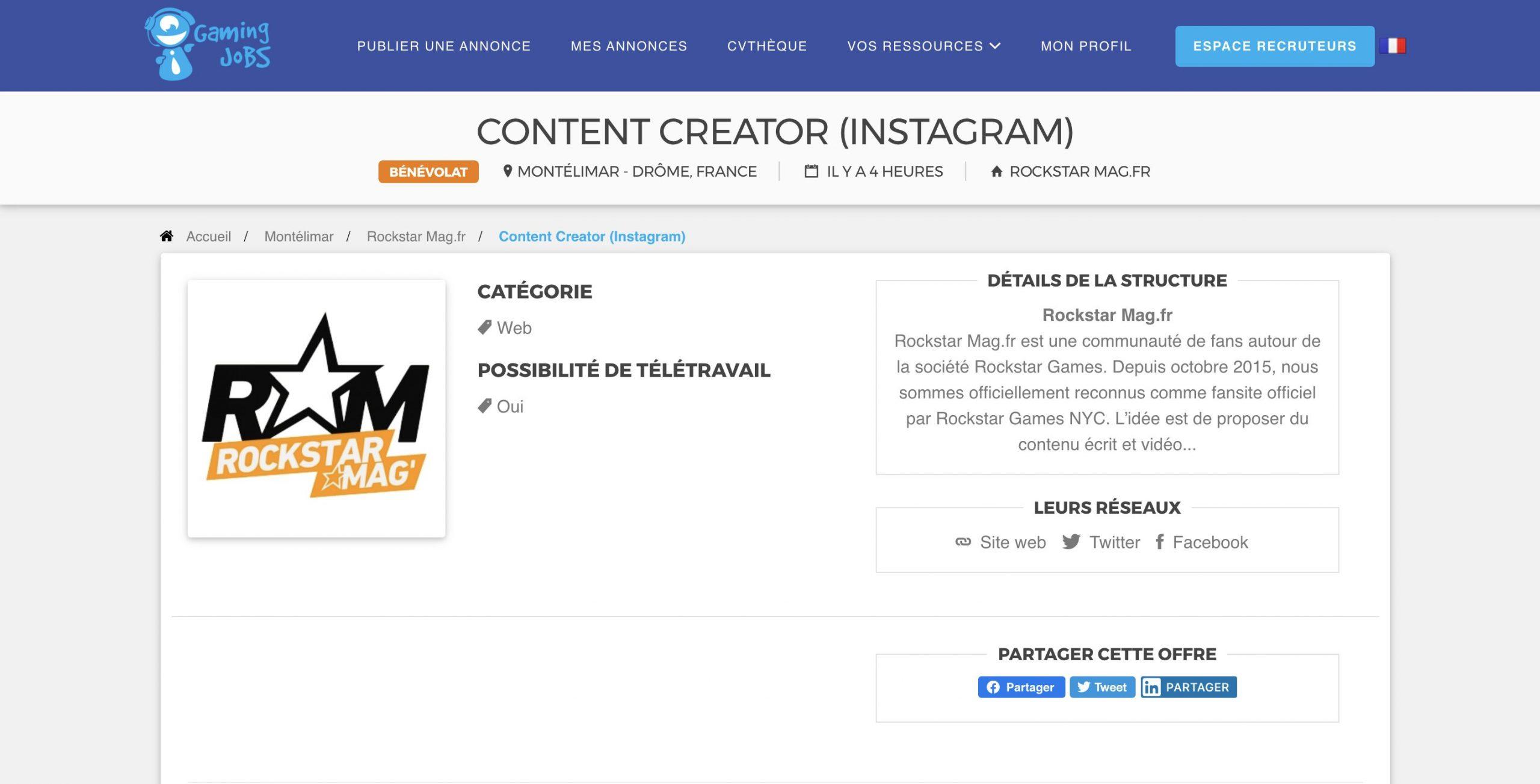 Offre Content Creator Rockstar Mag'
