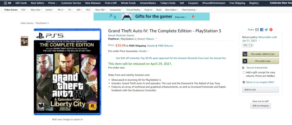GTA 4 PS5 Amazon