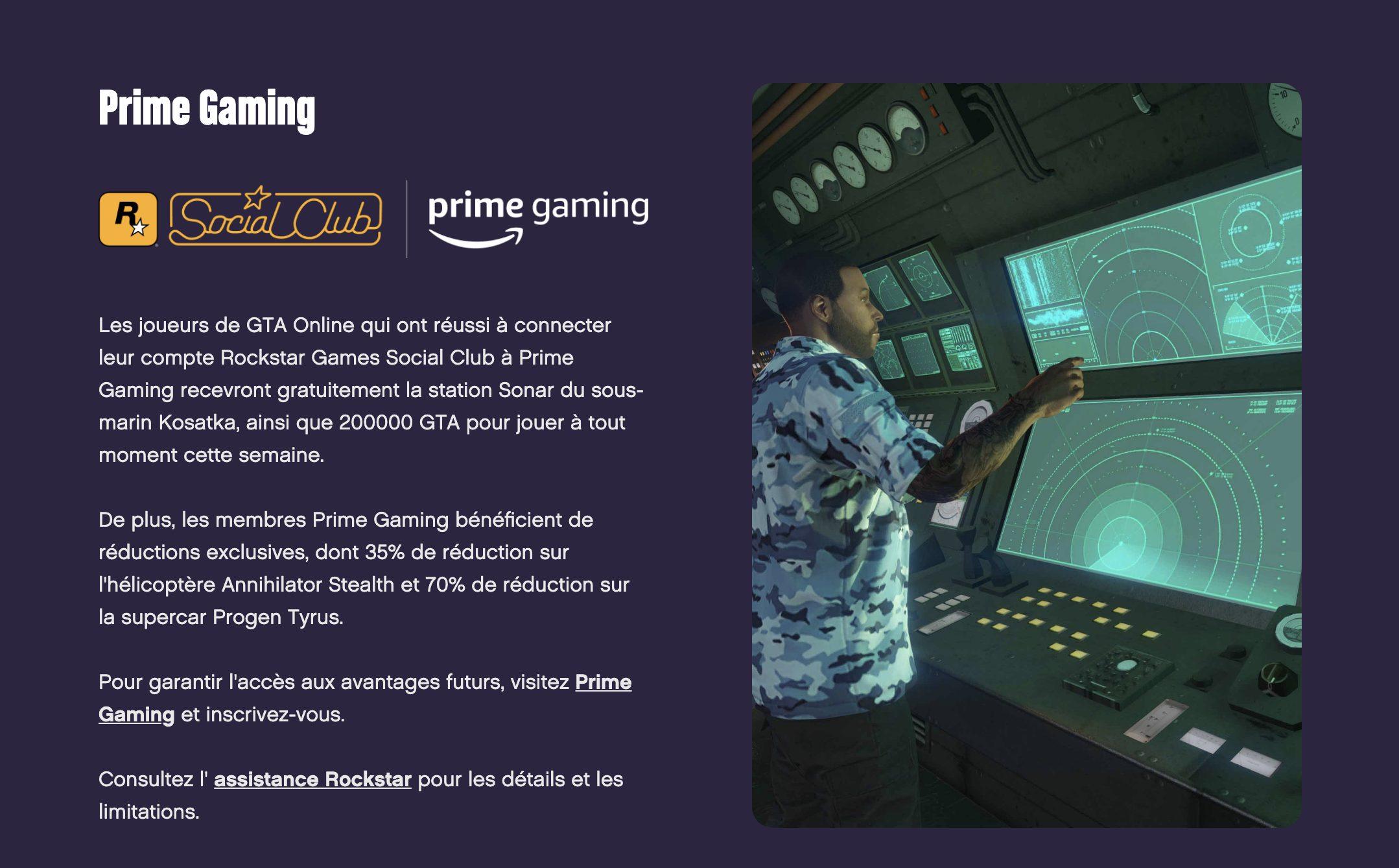 Prime Gaming GTA Online Février 2021
