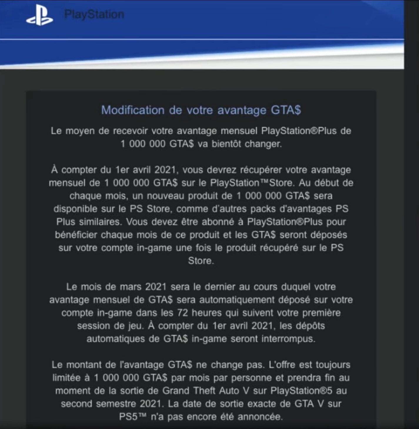 Bonus GTA$ PlayStation Store