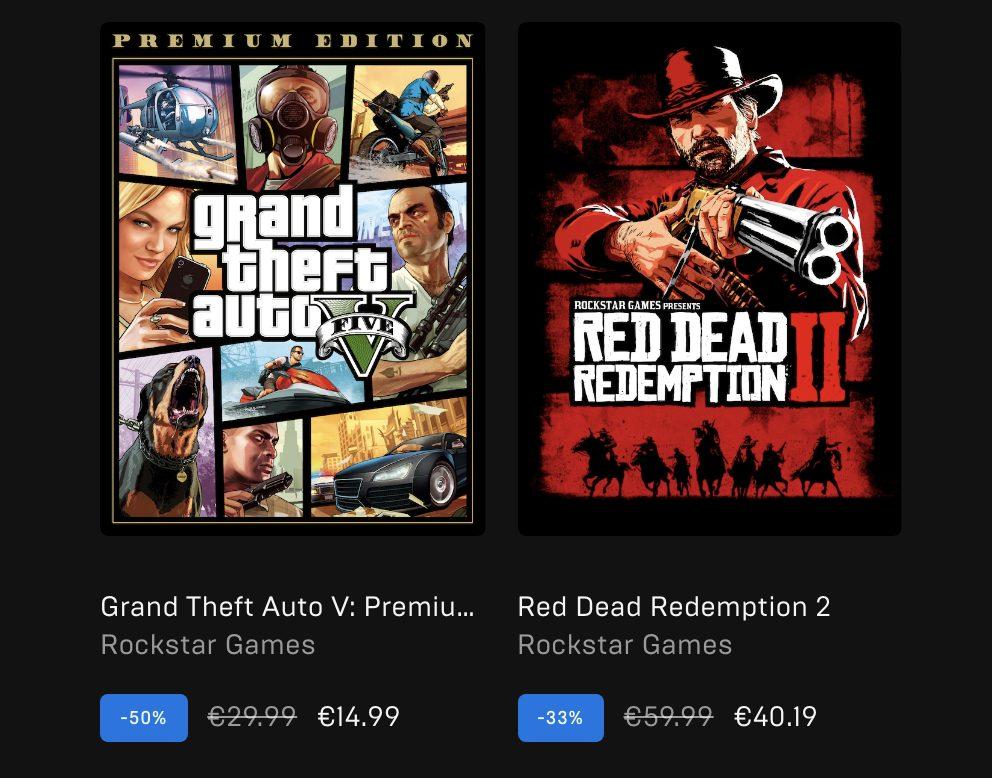 Promotion jeux Rockstar Epic Games Store