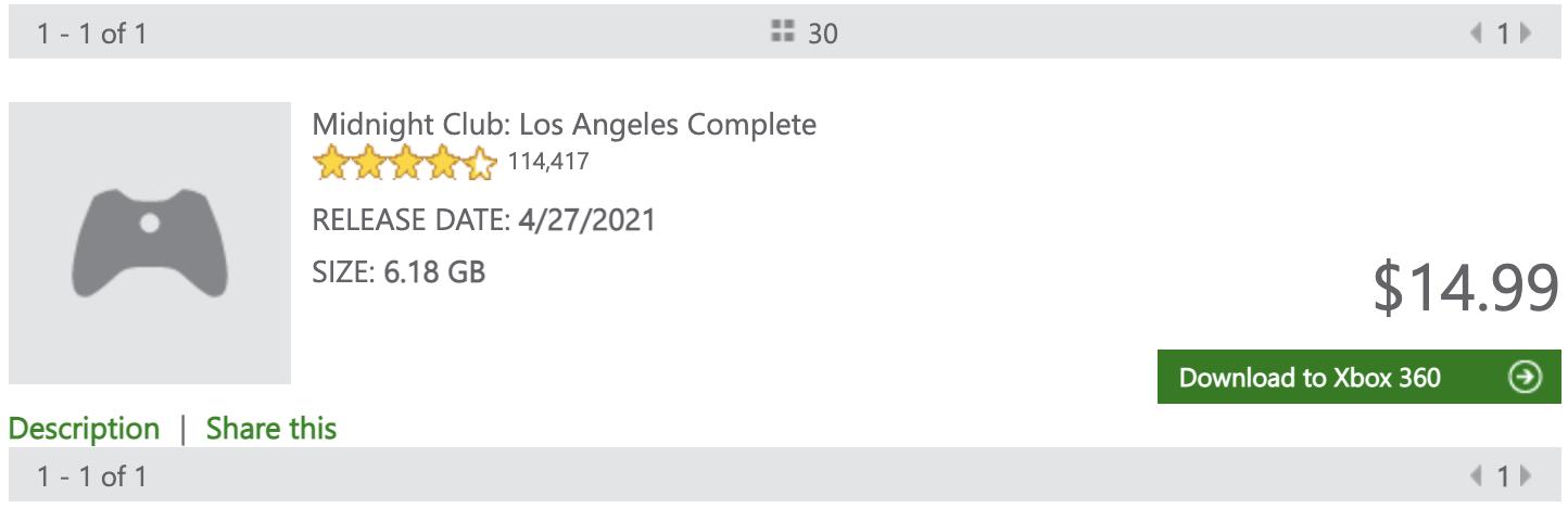 Fiche Xbox Store Midnight Club L.A.